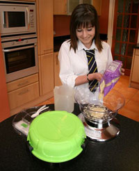 Pupil preparing cooking ingredients